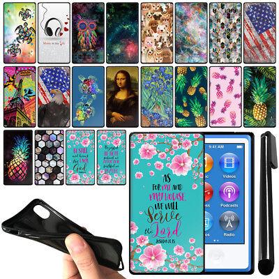 For Apple iPod Nano 7th Gen Black TPU SILICONE Soft Protective Case Cover + Pen Black Ipod Nano Protective Cover
