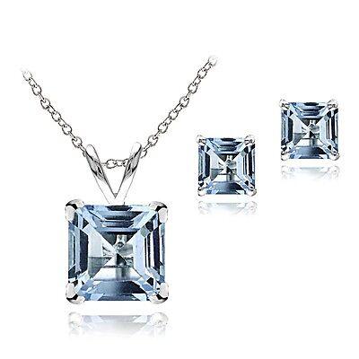 925 Silver 3.65ct Blue Topaz Pendant & Earrings Set