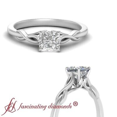 Solitaire 3/4 Carat Princess Cut Diamond Nature Inspired Twisted Engagement Ring