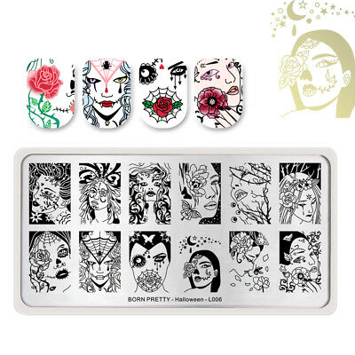 BORN PRETTY Halloween Series L006 Nail Stamping Plate Skull Beauty Rose Manicure