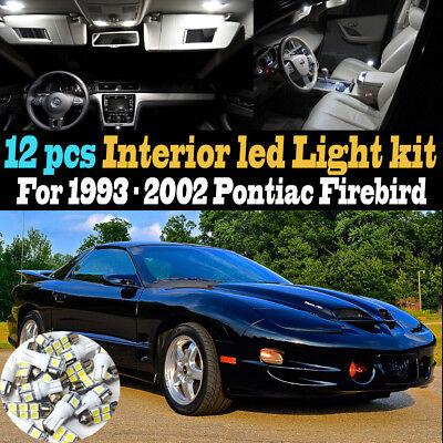 12Pc Super White Car Interior LED Light Kit Package for 93-02 Pontiac Firebird