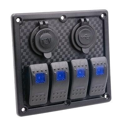4 Gang Boat Marine RV LED Rocker Switch Panel & Circuit Breaker Dual USB Socket