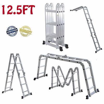 Aluminum Ladder Folding 12.5ft Step Scaffold Extendable Platform 330lbs Capacity