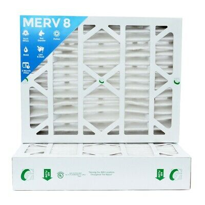 20x25x4 Merv 8 Pleated Ac Furnace Air Filters.  2 Pack Actual Depth 3-34
