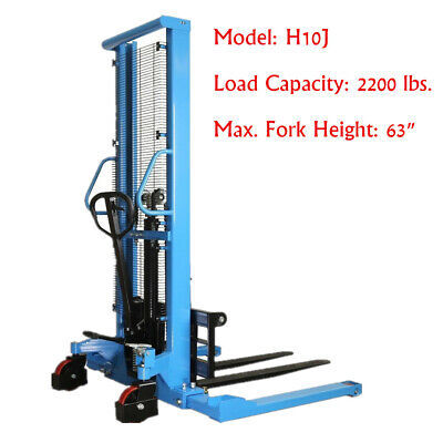 Eoslift Pallet Stacker Manual Straddle Stacker 2200lbs Cap. 63 Max Forklift Us