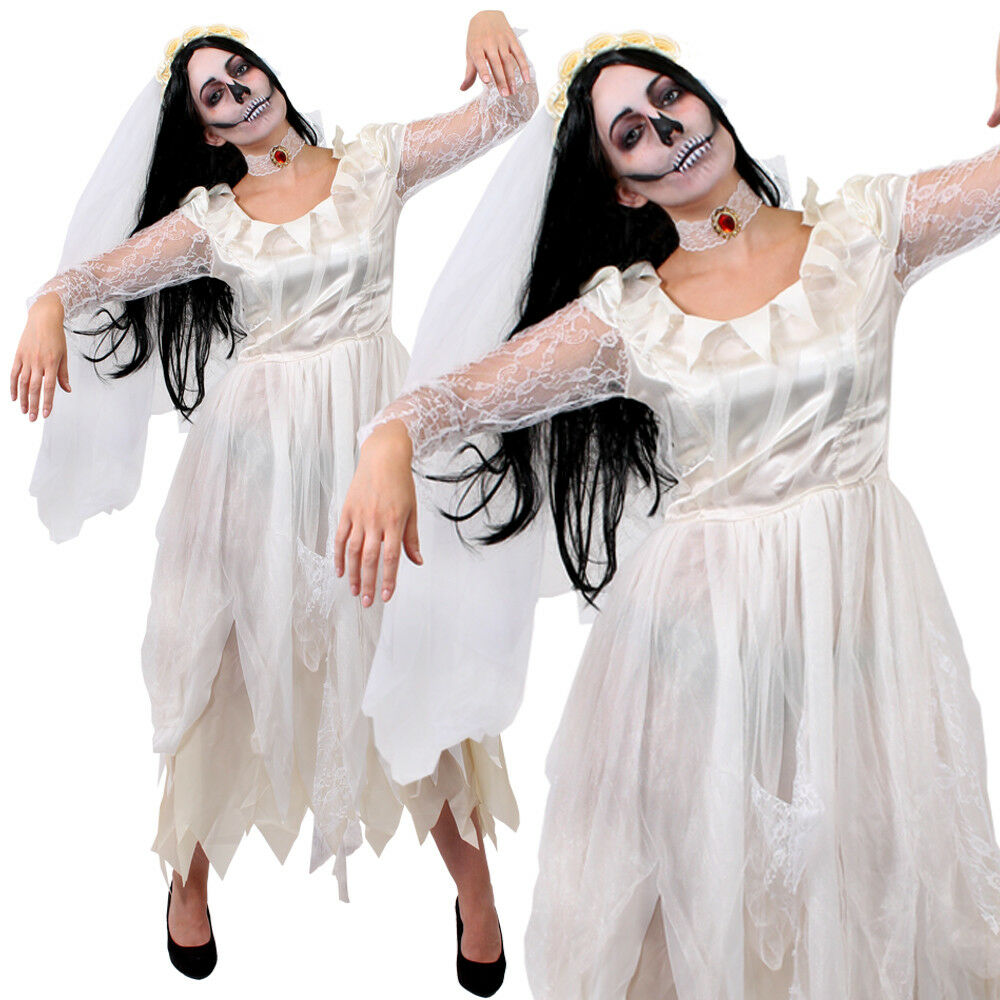 Womens Adult Halloween Corpse Bride Wedding Dress /& Veil Outfit Costume RRP £16