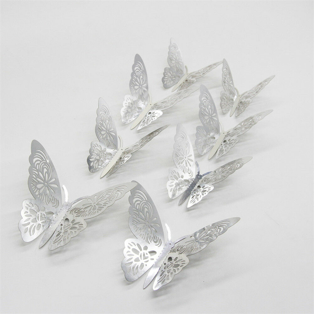 Home Decoration - GOLD/SILVER3D DIY Wall Sticker Butterfly Home Room Decor Decorations 12 pcs Set
