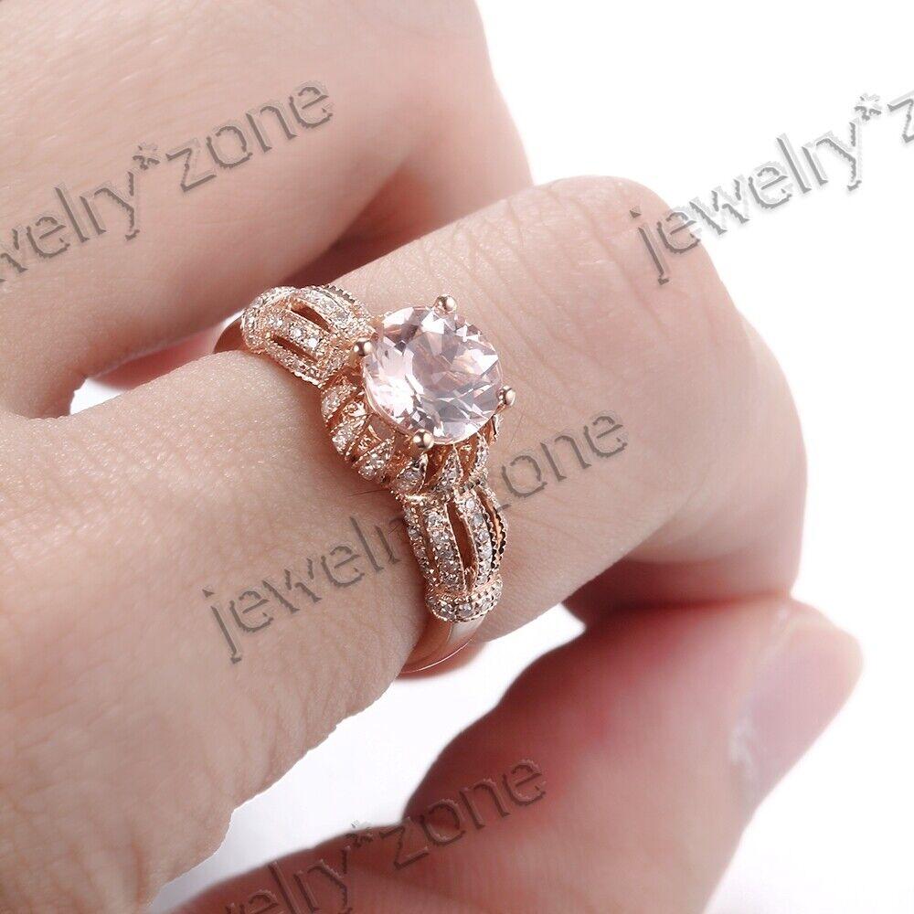 Women\'s 7mm Round Morganite Real Diamonds 14K Rose Gold Engagement ...