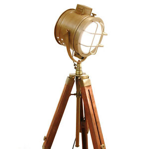 rustic hand made nautical tripod lamp floor table spot light vintage. Black Bedroom Furniture Sets. Home Design Ideas
