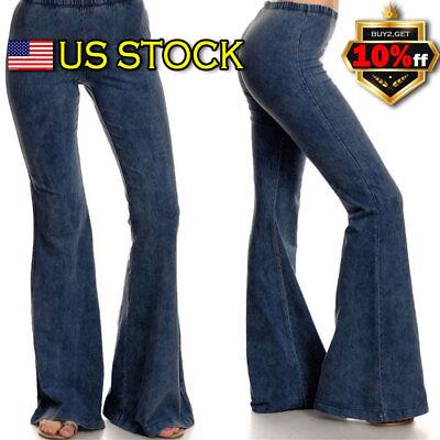 Women Skinny Flare Denim Jeans Retro Bell Bottom Stretch Pants Trousers US - Women's Bell Bottom Jeans