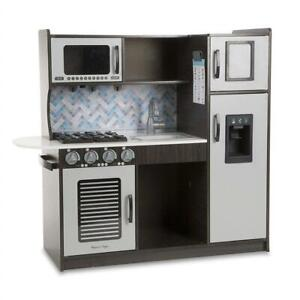 NEW Melissa  Doug Wooden Chefs Pretend Play Toy Kitchen with Ice Cube Dispenser, Easy to Assemble, Charcoal Condti...
