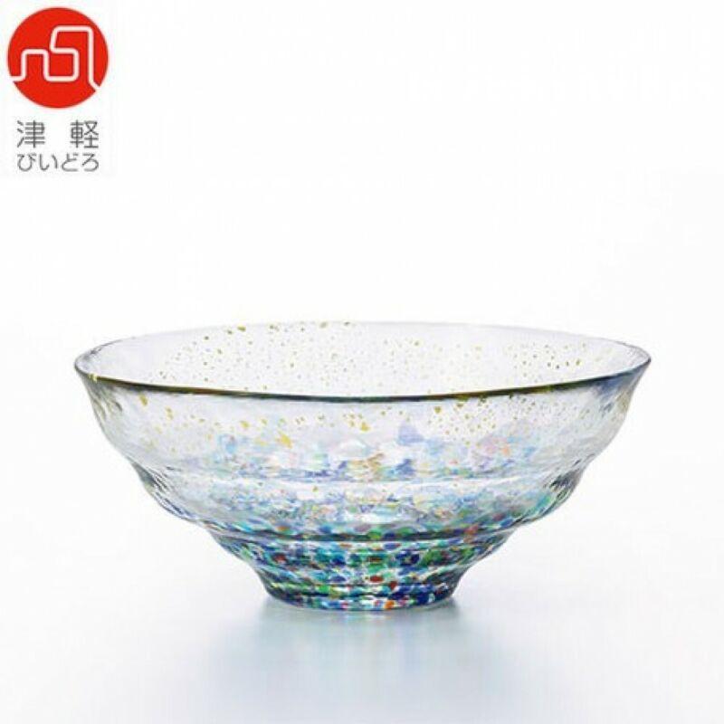 Japanese Matcha Tea Bowl Chawan Glass Tsugaru Bidro Matsuri Gold Kinsai Japan
