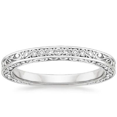 0.10Ct Delicate Antique Scroll Round Diamond Half Eternity Ring 18k White Gold (Delicate Antique Scroll Ring)