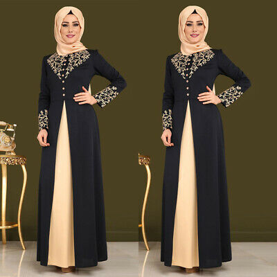 Women Arab Print Abaya Dubai Maxi Dress Long Sleeve Islamic Muslim Jilbab Robe ()
