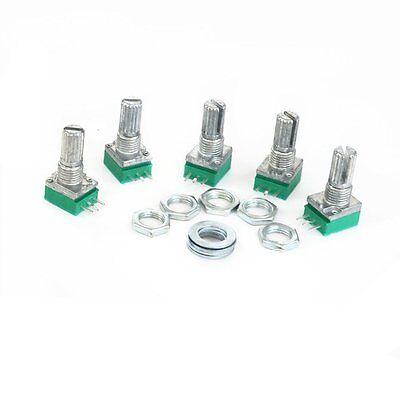 5pcs Alps Rk097n B10k Audio Amplifier Sealed Dual Potentiometer 15mm Shaft 3pins
