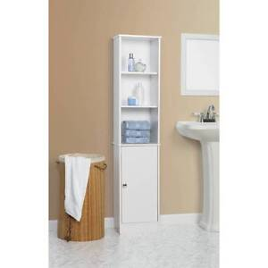 bathroom white linen tower towel organizer furniture shelves wood