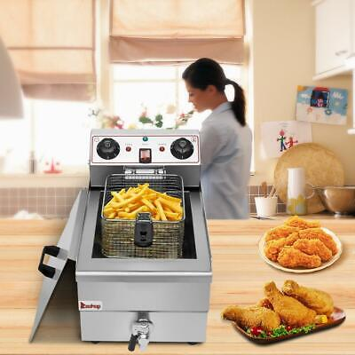 Stainless Steel 12.5qt Electric Countertop Deep Fryer Commercial Basket French