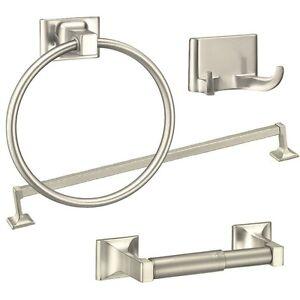 4 piece towel bar set bath accessories bathroom hardware brushed nickel