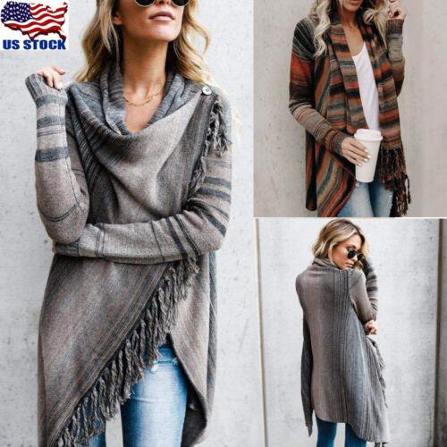 Women Irregular Tassel Knitted Cardigan Sweater Poncho Shawl