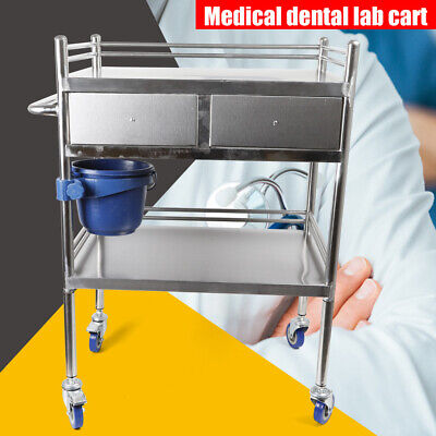 Newly 2 Layers Serving Lab Cart Trolley 2 Drawer Stainless Steel Carts Silver