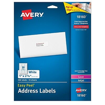 Avery Address Ink Jet Labels 1 X 2.6 Inches White 300 Ea