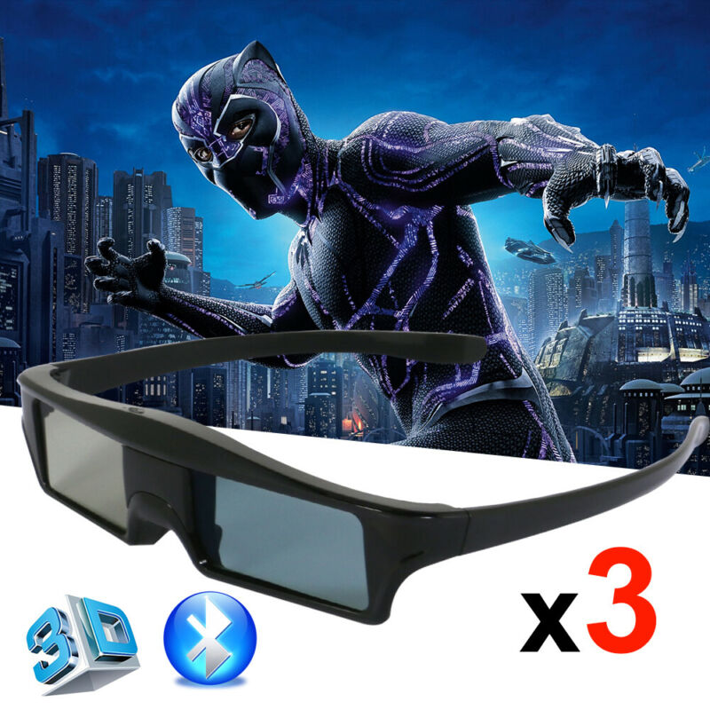 3X Active Shutter 3D Glasses Blue-tooth for Epson Samsung/Panasonic 3D TVs USB
