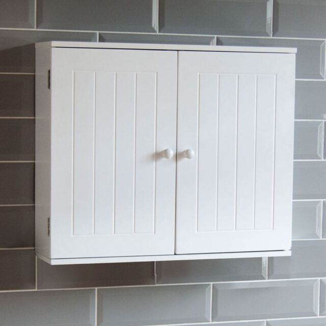 bathroom wall cabinet double door storage cupboard wooden white by home discount