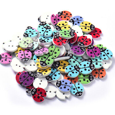 Lot of 10 LADYBUG 2-hole White Wood Buttons 3/4