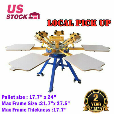6 Color 6 Station Silk Screen Printing Press T-shirt Printer Carousel Machine