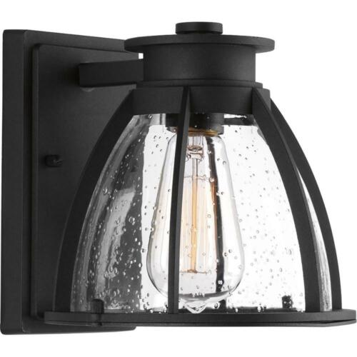 "Progress Lighting Pier 33 1-Light Black 8"" Outdoor Wall Lantern Sconce"