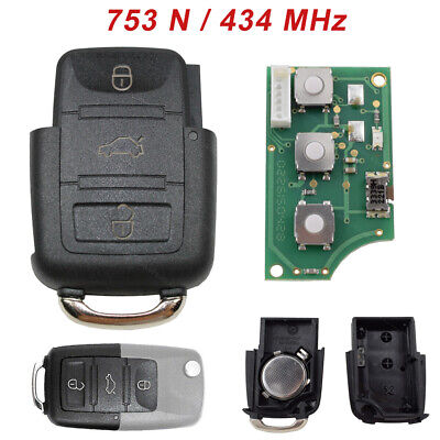 Llave Plegable 434MHZ 3 Teclas Carcasa Emisor Coche 1K0959753N Apto Para VW