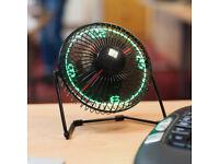 HOME DESK OFFICE LED CLOCK FAN LOOK 360 DEGREE PIVOTING HEAD *COOL* TOP GADGET.*