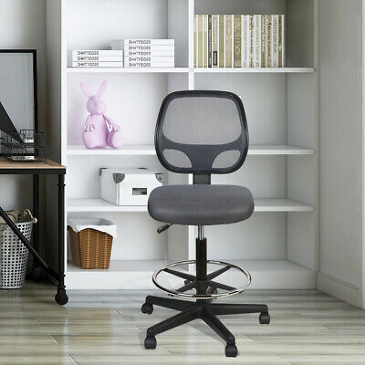 Mesh Mid Back Home Office Drafting Bar Counter High Stools Chairs Armless Gray