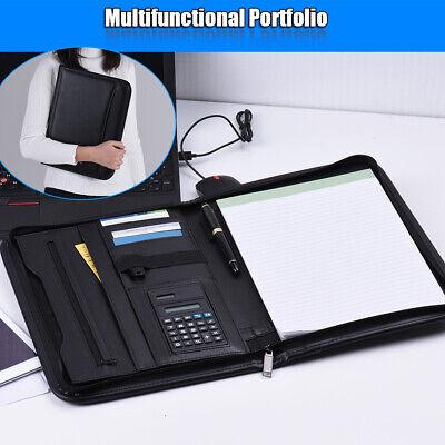 Business Portfolio Padfolio File Folder Document Case Organizer Leather HOT X2E0