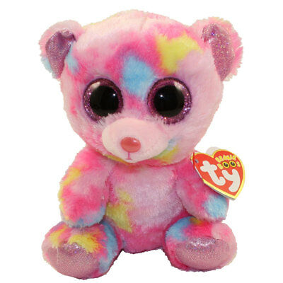 "Ty 6"" FRANKY Pink Colorful Bear Beanie Boos Animal Plush MWMT's Heart Tags 2018"