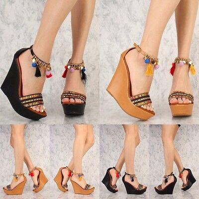 Gold Dangling Pom Pom Tassel Wedge Platform heels Gladiator Sandals Size W39 ()