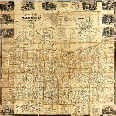 1858 Farm Line Map of Wayne County New York Lyons Newark Clyde LARGE 40 x 40 Map