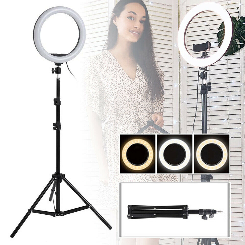 8″ LED Ring Fill Light w/ 62″ Tripod for Studio Photo Video USB Dimmable Lamp Cameras & Photo