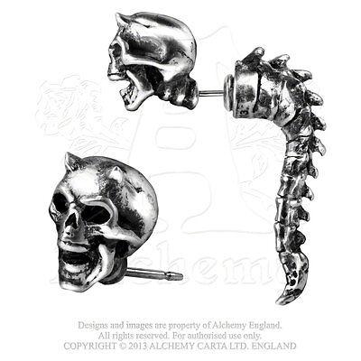 Wraith Spine Horned Skull Faux Ear Stretcher Post Earring...