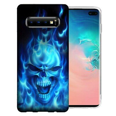 For Samsung Galaxy S10e Flaming Skull Design TPU Gel Phone Case (Flamed Cover)