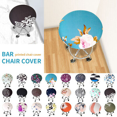 Bedroom Square Bar Stool - Stretchy Solid Floral Bar Stool Cover Round Chair Seat Covers Elastic Sleeve F/1