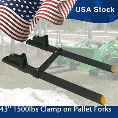 Clamp-on Pallet Fork Loader Bucket Skidsteer Tractor Quick Attach 43 60 2000lb