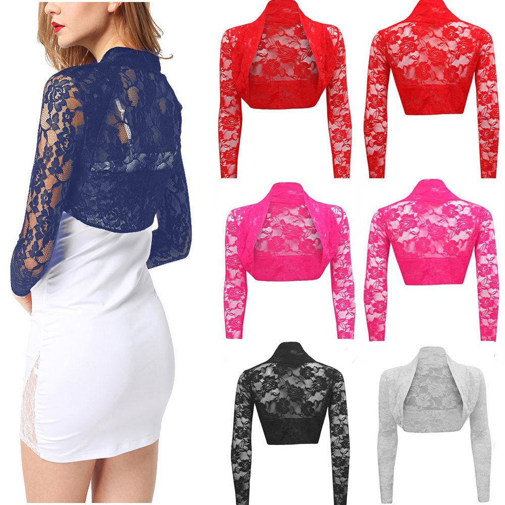 Womens Sheer Lace Long Sleeve Bolero Shrug Cropped Cardigan