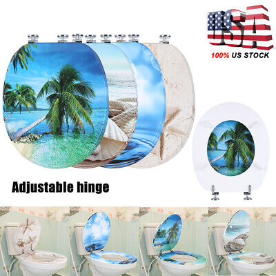 - NEW 3D Series Ocean Sea Beach Shell Round Toilet Seat, Adjustable Strong Hinges