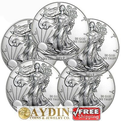 Lot of 5 - 2017 1 oz .999 American Silver Eagle GEM BU $1 Coins SKU# 396648