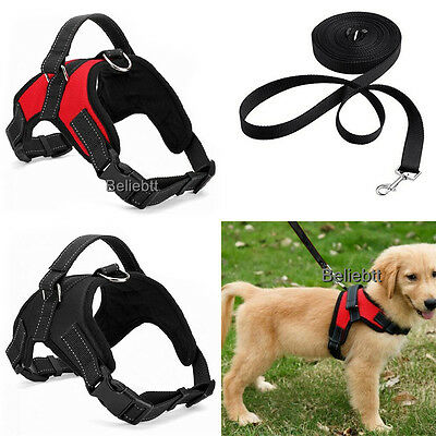 Collars Harnesses Leashes (No Pull Adjustable Dog Vest Harness Leash Collar Set  for)