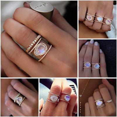 Gemstone Oval Ring - Women Ladies Boho Moonstone Retro Ring Oval 14k Rose Gold Gemstone Rings Gifts