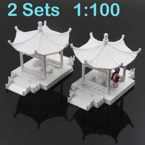 GY01100 2pcs Pavilion Model Gloriette Chinese Construction Educational 1:100 TT