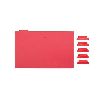 Staples Hanging File Folders 5-Tab Legal Size Red 25/Box (163980) - Red File Folders