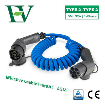 Protable EV Charging Cable 16A 3.6KW Electric Charger Type2 to Type2 1Phase EVSE